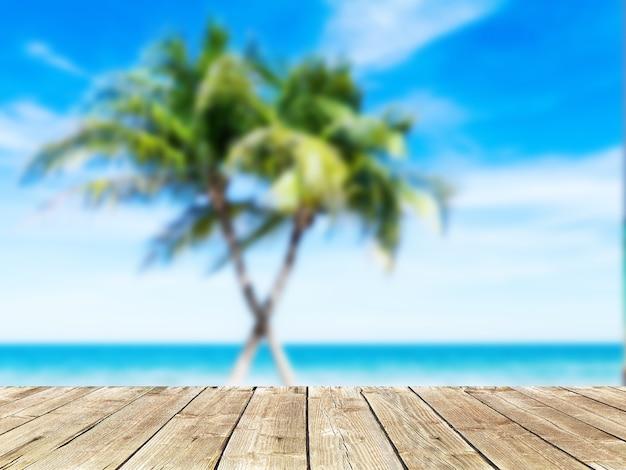 淡い木の床の製品ディスプレイとビーチの背景ヤシの木