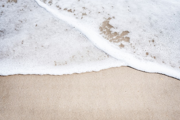 The beach background, white sea wave, clear sand, beauty by nature