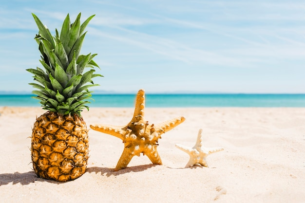 Beach background with pineapple and starfish