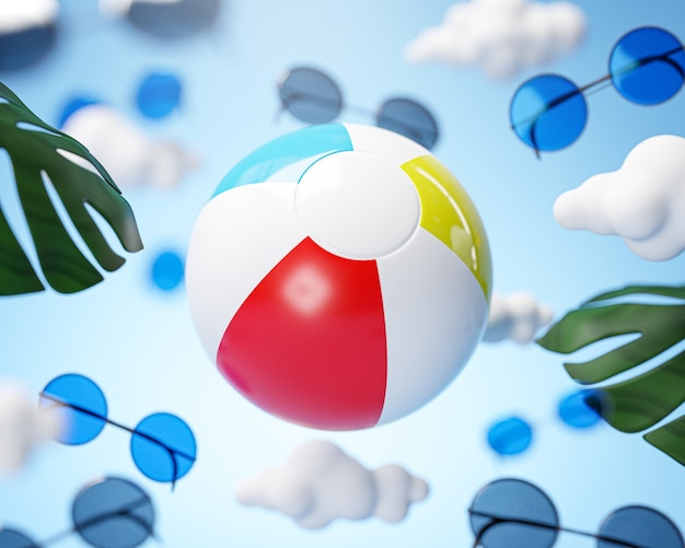Beach ball flying on cloud sky holiday concept background 3d rendering
