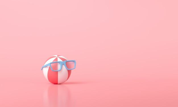 Пляжный мяч в солнцезащитных очках на розовом