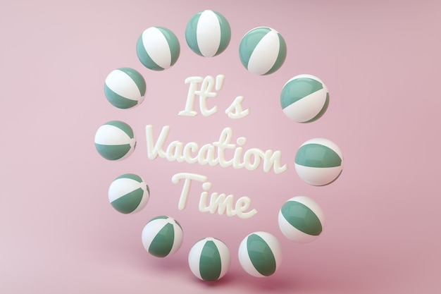 Beach balls creating a circle with a text inside. summer and vacation timer. 3d render