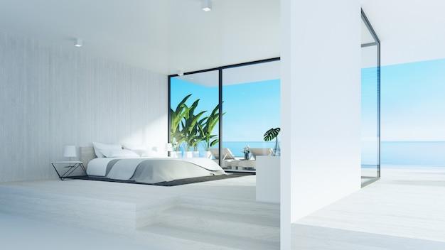 해변 침실 / 3d 렌더링