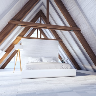 Beach bedroom in a frame wooden house - easy and relax / 3d rendering interior