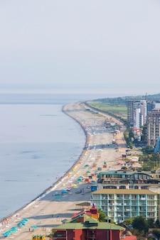 Beach in black sea, gonio, georgia. sea beach view.