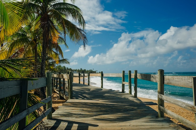 Beach boardwalk in puerto rico