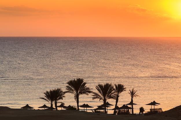 파라솔이 있는 바다 해변과 수영을 위한 부두 홍해 이집트