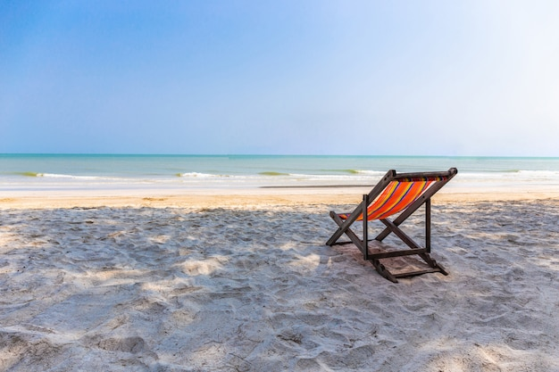 Beach chair on the beach with beautiful landscape at hua hin prachuap khiri khan
