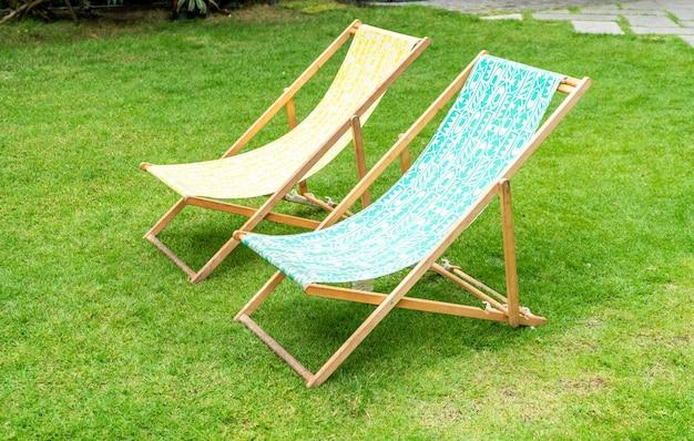 Beach chair in garden