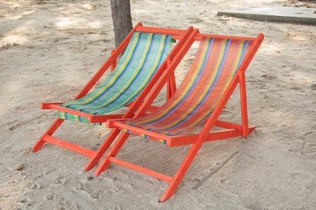 Beach chair on on the sandy beach