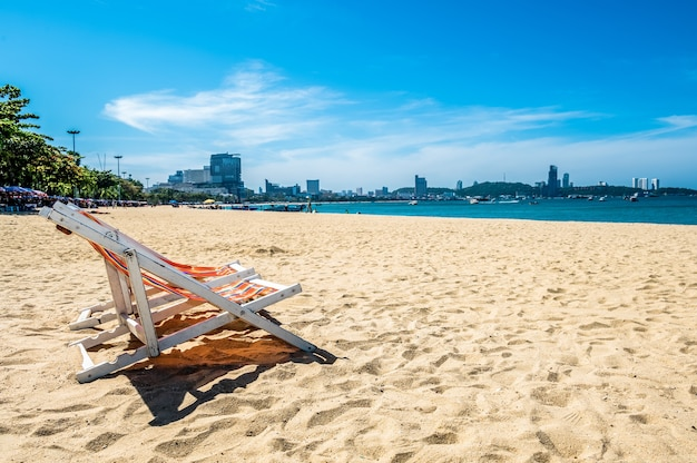 Beach chair at tropical beach in pattaya thailand with beautiful turquoise ocean water