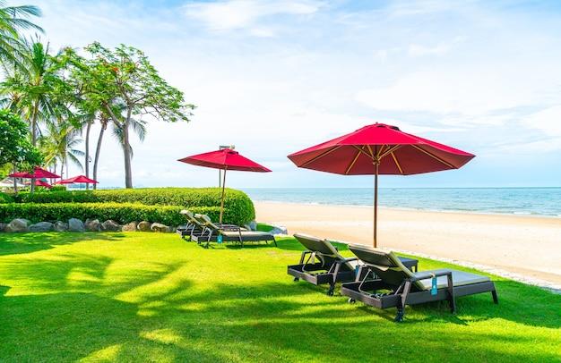 Beach chair and umbrella with sea beach views