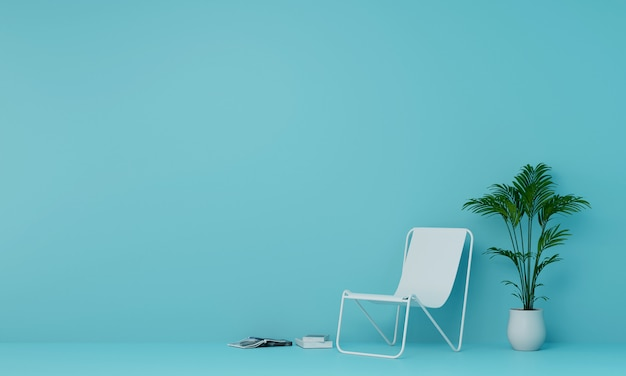 Beach chair with potted plants and book in light blue room. 3d render.