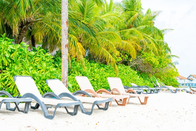 Beach chair with tropical maldives resort hotel island and sea