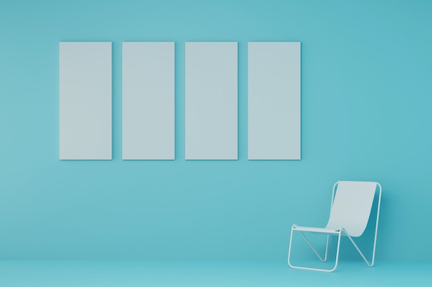 Beach chair with white picture frame in light blue room. 3d render.