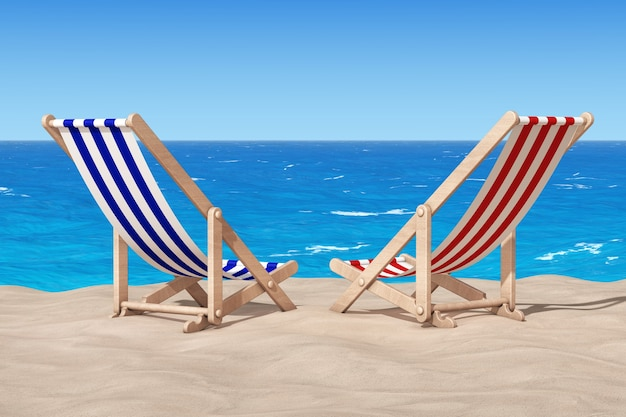Beach chairs on the sand sunny beach extreme closeup. 3d rendering