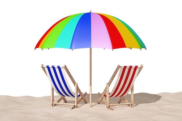 Beach chairs on the sand sunny beach extreme closeup on a white background. 3d rendering