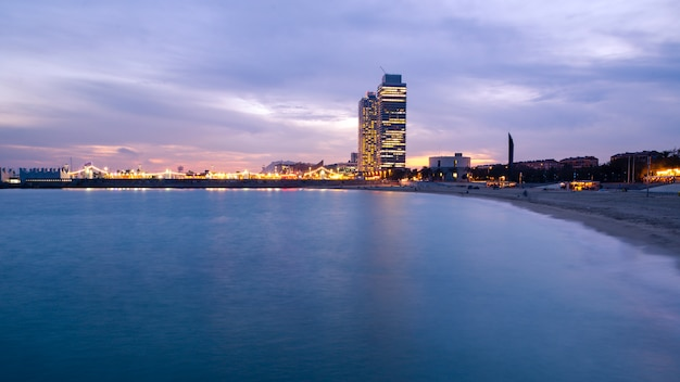 Beach in the city at the blue hour