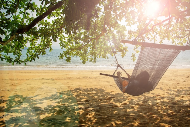 Beach cradle under the tree by the beach.