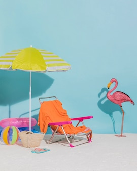 Beach decorations on blue background
