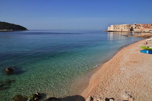 The beach in dubrovnik city on adriatic sea, croatia