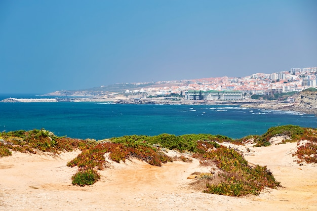 Beach of ericeira and city