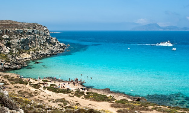 Beach of favignana. aegadian island