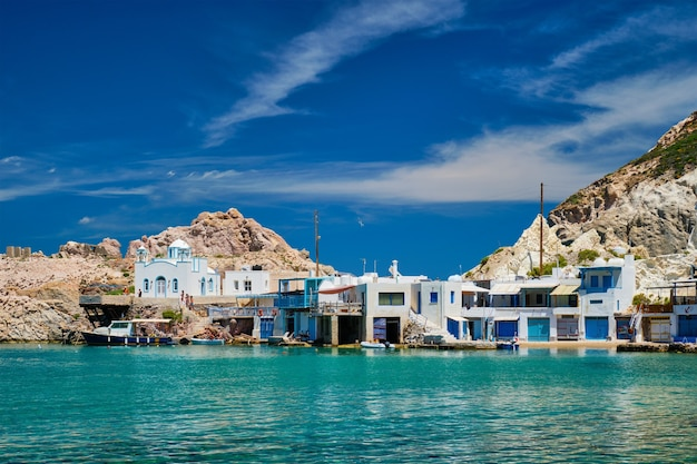The beach of firapotamos in milos greece