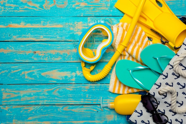 Beach flat lay accessories, summer background