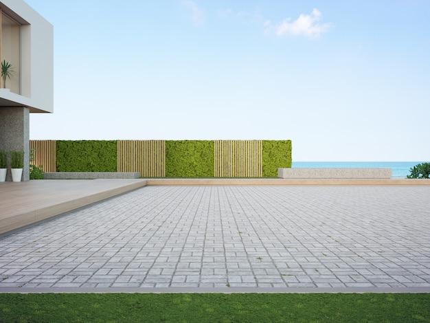 駐車場用の空の石畳の床のビーチハウス