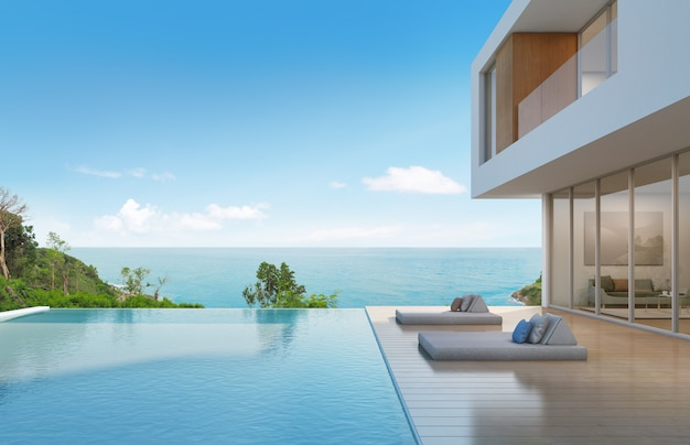 Beach house with pool in modern design.