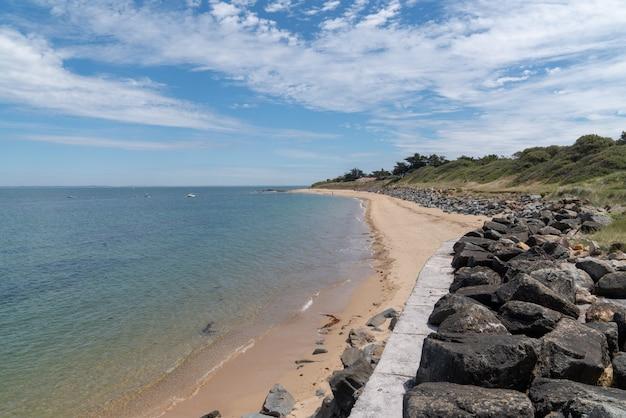 Beach on island of noirmoutier in pays de la loire vendee france