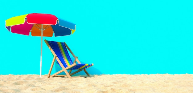 Beach on isolated background chair umbrella sand 3d rendering