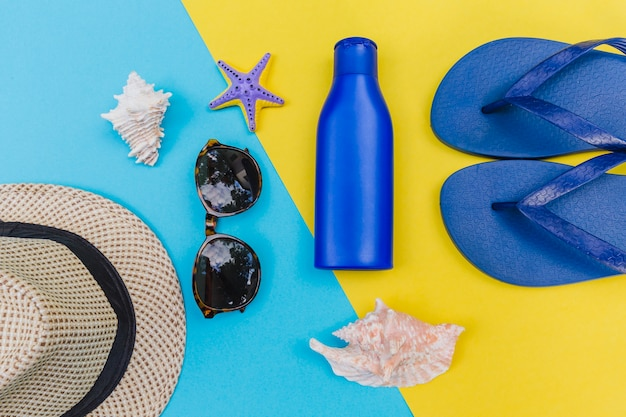 Beach items in composition