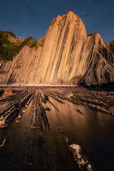Beach of itzurun at zumaia with the famous flysch coast, pais vasco.