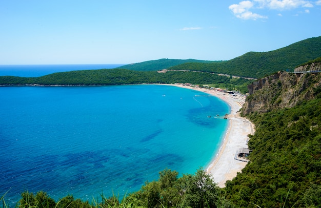 Beach jaz adriatic sea. top view from mountain. sunny day