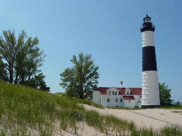 Beach lake lighthouse big michigan sable