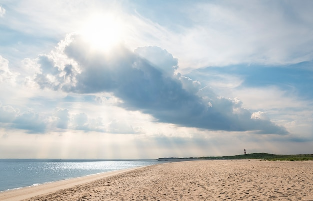 Beach landscape on sylt island with beautiful clouds