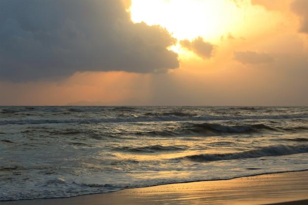 Beach landscape with beautiful sunset