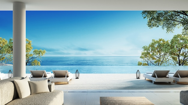 Beach living on sea view Premium Photo