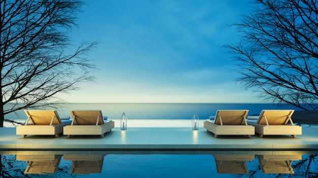 Beach lounge - ocean villa on sea view for vacation and summer