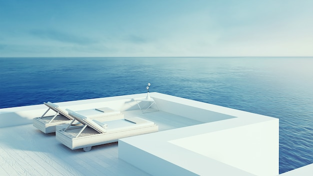 해변 라운지-휴가 및 여름을위한 오션 빌라 해변 및 바다 전망 / 3d 렌더링 야외