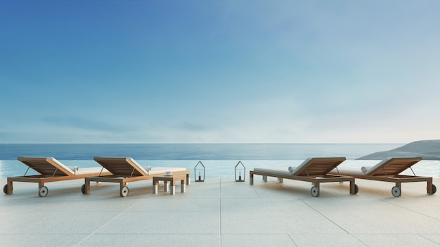 Beach lounge - ocean villa with pool and sea view / 3d render