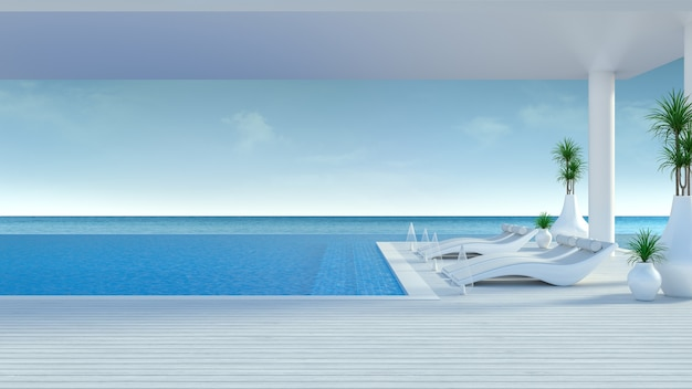 Beach lounge ,sun loungers on sunbathing deck and private swimming pool at luxury villa/3d rendering