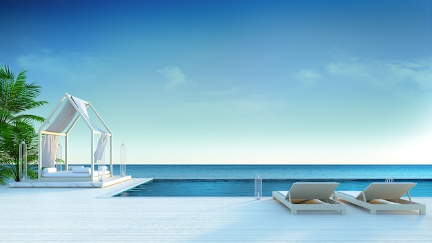 Beach lounge ,sun loungers on sunbathing deck and private swimming pool at luxury villa/3d
