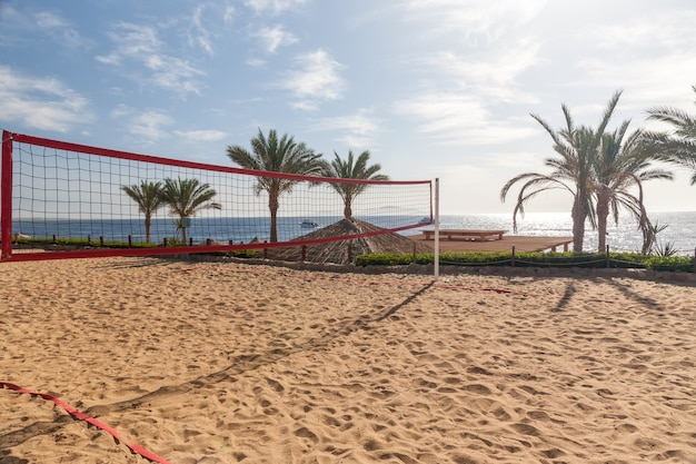 The beach at the luxury hotel, sharm el sheikh, egypt. view from the volleyball court