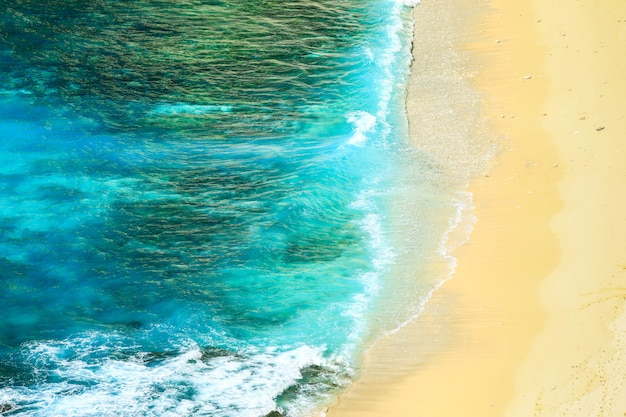 Beach and ocean as a background from top view. summer seascape summer concept