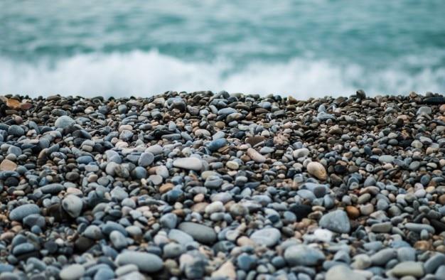 Beach pebbles close up