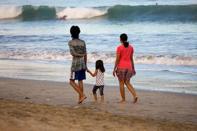 Beach people walking