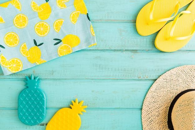Beach resort items on blue background